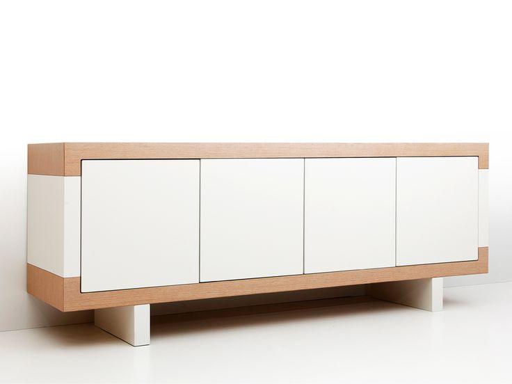 Tetris console Oak and white lacquer Designed by D. Lamboudis