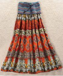 Bohemian Printed Strapless Dress For Women