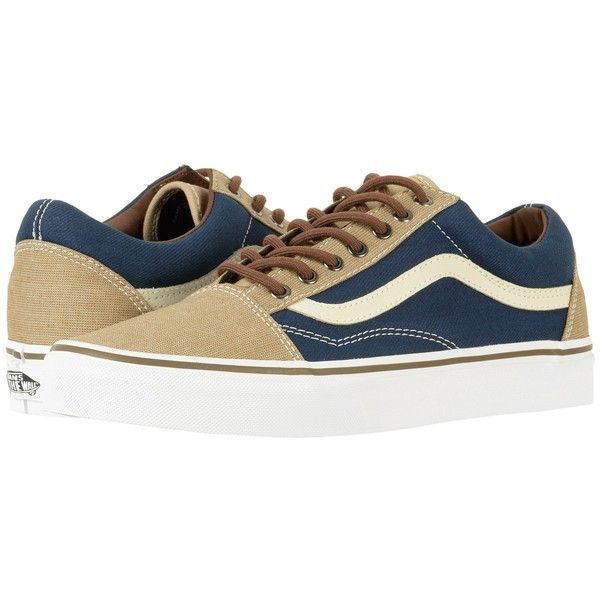 Vans Old Skool ((T&H) Dress Blues/Khaki) Skate Shoes (155 TND) ❤ liked on Polyvore featuring shoes, genuine leather shoes, shock absorption shoes, grip shoes, skate shoes and breathable shoes