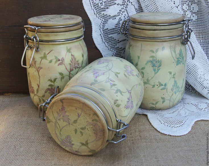 Набор стеклянных баночек для кухни Французский кантри - банки для продуктов, банки для сыпучих