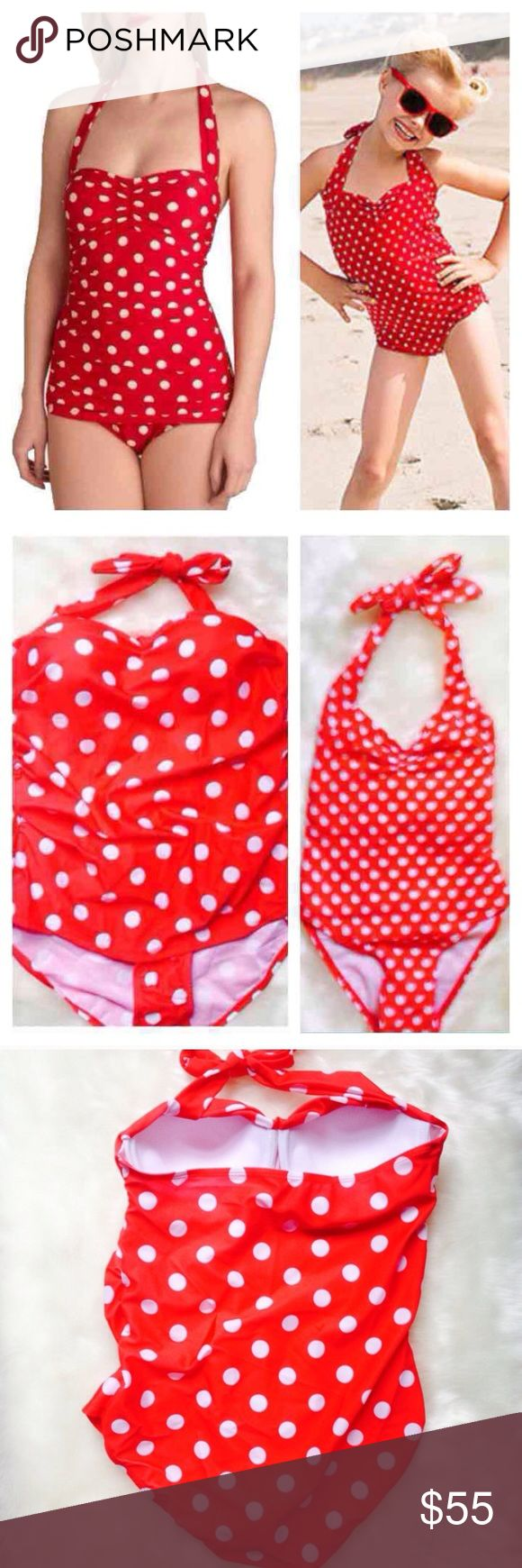 """Mommy & Me Matching Polka Dot Swimsuits Mom Size M Adorable matching swimsuits to make summer extra cute for you and your little one.  ***Includes BOTH suits. 🍒Mom suit details: *Made of 80% Acrylic, 20% Spandex.  *Has built in padded bust cups, underwire.  *Halter ties around neck.  *Measurements are as follows: LARGE Bust 32-34"""" Waist 24-25"""" Hips 34-36"""" Length from top of bust to crotch 25"""". Tag says L but  fits more like M.  🍒Toddler suit details: *Measurements:Chest 20"""" Hips 20"""" (2…"""