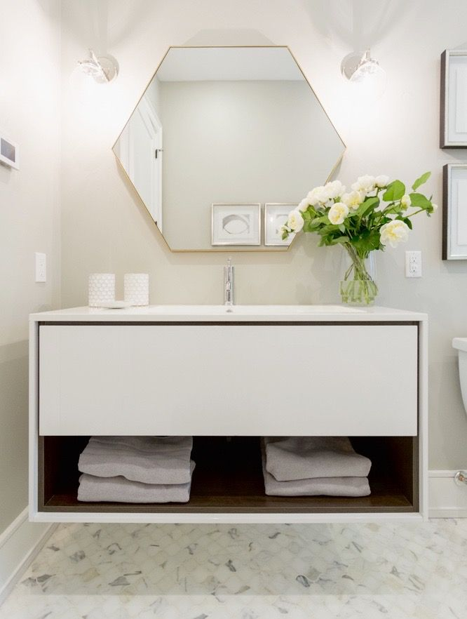#Highview house guest bath from #BryanInc seen on #HGTVCanada. Mirror from Cocoon.