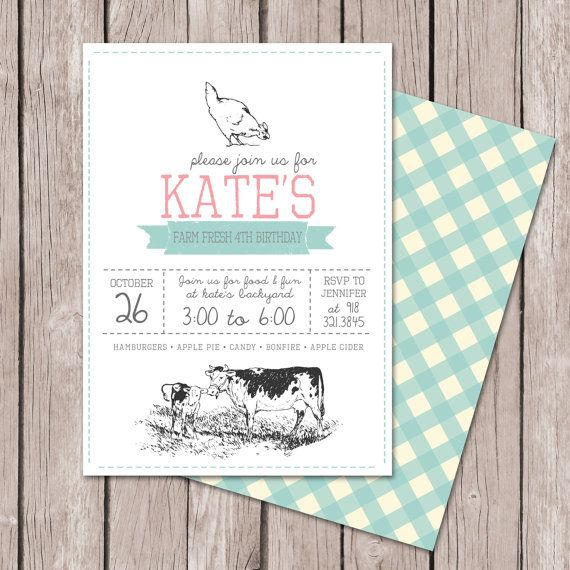 Color: Turquoise and Red::    Farm Invitation // Vintage Farm Invitation // by papernoteandco, $15.00