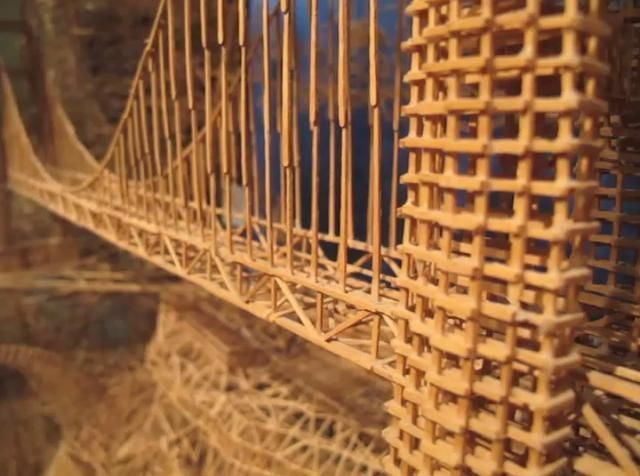 """Scott Weaver's Rolling through the Bay by The Tinkering Studio. Scott Weaver's amazing piece, made with over 100,000 toothpicks over the course of 35 years, is a depiction of San Francisco, with multiple ball runs that allow you to go on """"tours"""" of different parts of the city. It will be on display in the Tinkering Studio until June 19th!"""
