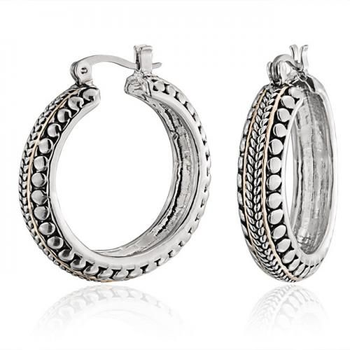 Two Tone Cable Bead Hoop Earrings