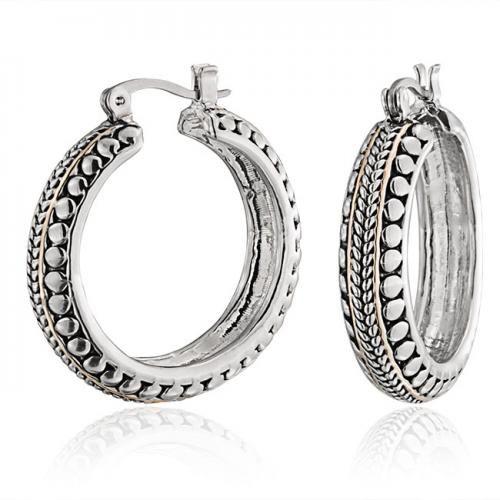 Bling Jewelry Bali Caviar Two Tone Cable Bead Hoop Earrings