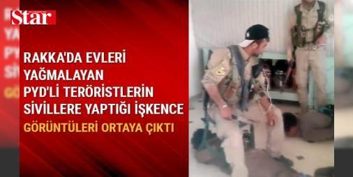 Rakka'da evleri yağmalayan PYD'li teröristlerin sivillere işkence görüntüleri ortaya çıktı: AA muhabiri, Rakka'nın batı kırsalındaki Mansura beldesinde, PYD/PKK'lı teröristlerin iki sivile işkence ettiği görüntülere ulaştı.   Videoda, kıyafetlerinin kolunda elebaşı Abdullah Öcalan'ın resmi olan iki teröristin, iki erkek sivili, elleri ve ayaklarından bağlayarak yere yatırdığı görülüyor.   Yaklaşık bir ay önce çekilen görüntüde teröristler,  DEAŞ üyesi olmadığını biliyoruz. Ama bize DEAŞ…
