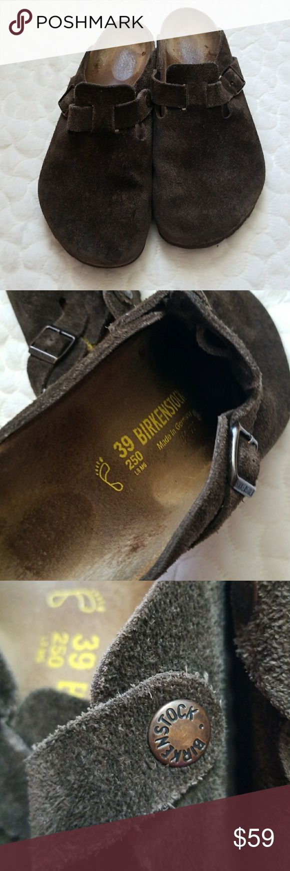 Birkenstocks slip on mules clogs brown leather 9 ******Birkenstock size 39 which is a woman's 9. Brown leather clog/mule style shoe. Really comfy. Shows signs of wear but still has lots of life left in GUC****** Birkenstock Shoes Mules & Clogs