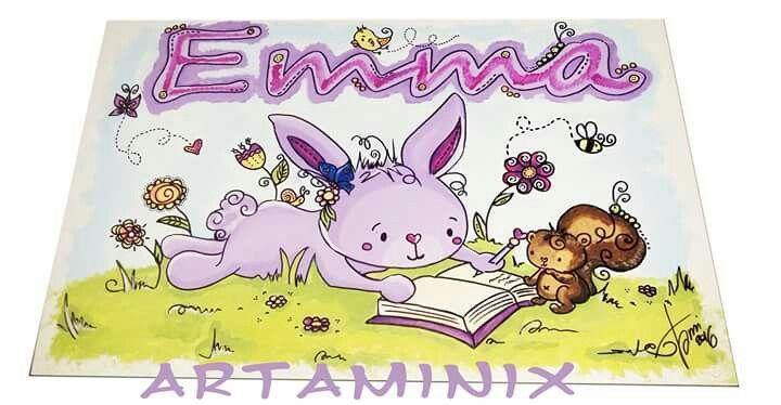 Quadri per camerette baby.  #name #emma #bunny #art #nursery #paint #handmade #artaminix