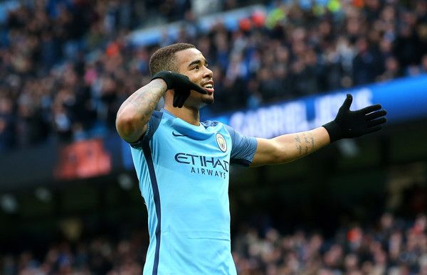 Gabriel Jesus Photos Photos - Gabriel Jesus of Manchester City celebrates scoring his sides second goal during the Premier League match between Manchester City and Swansea City at Etihad Stadium on February 5, 2017 in Manchester, England. - Manchester City v Swansea City - Premier League