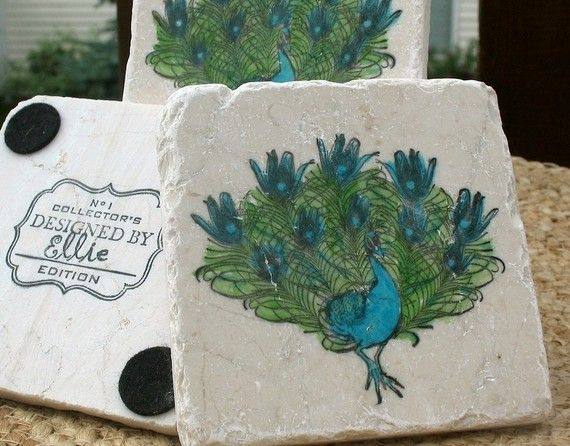 Peacock Coasters Housewarming Gift Absorbent Tile Coasters Office And Kitchen Decor