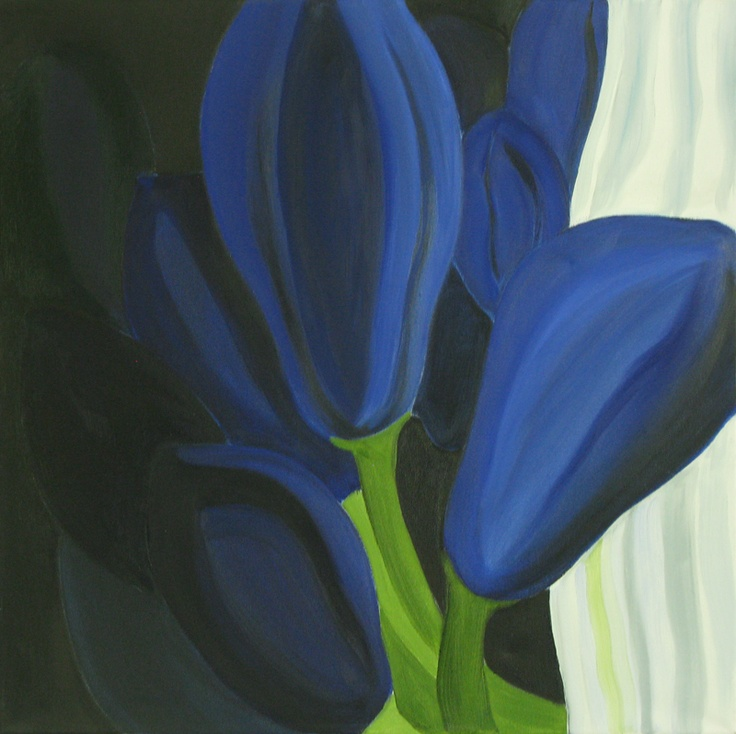 'Agapanthus' oil on canvas 1x1m. Now sold and displayed in a converted monastry in Tuscany.
