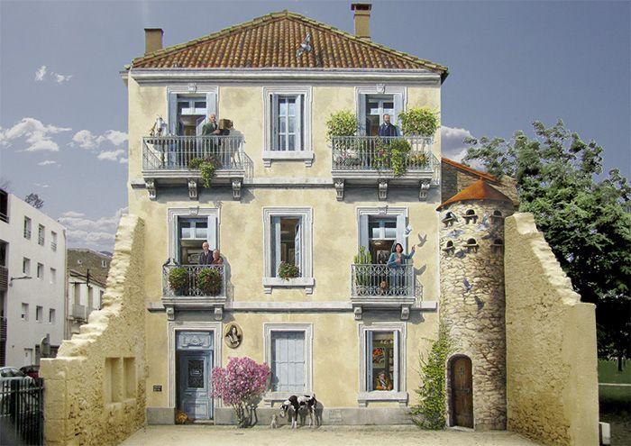Imagine-se voltando para casa de uma viagem longa e... não ser capaz de encontrá-la. Isso poderia realmente acontecer se você vivesse em um dos edifícios que foram tocados por este talentoso artista de rua francês Patrick Commecy.
