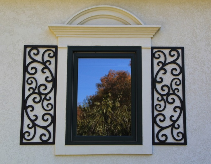 """The European look - Faux wrought iron shutters. Two 14"""" x 41-1/2"""" European style faux wrought iron window shutters made from black PVC exterior sign material. We have two sets of these shutters left in stock at time of listing but we will make as many as you need. www.williamsridgestudio.com"""