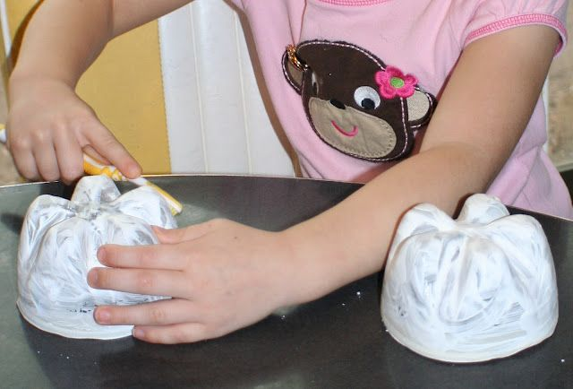 use the bottom of a pop bottle and have toothpaste on it that the kids have to brush off