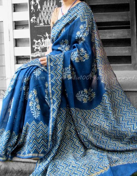Elegant Indigo Chanderi Saree | India1001.com