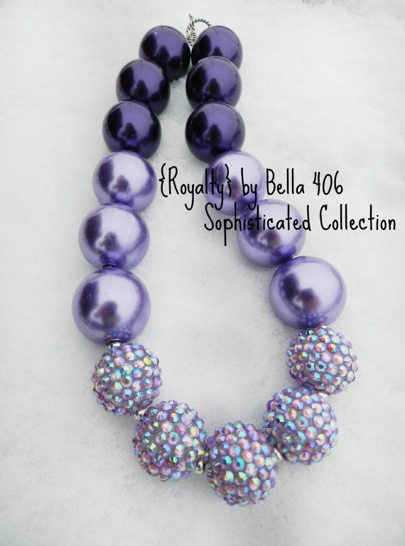 Children's Chunky Bead Necklace- Bubblegum Bead Necklace- Royalty- Deep Pruple and Lavender Pearls