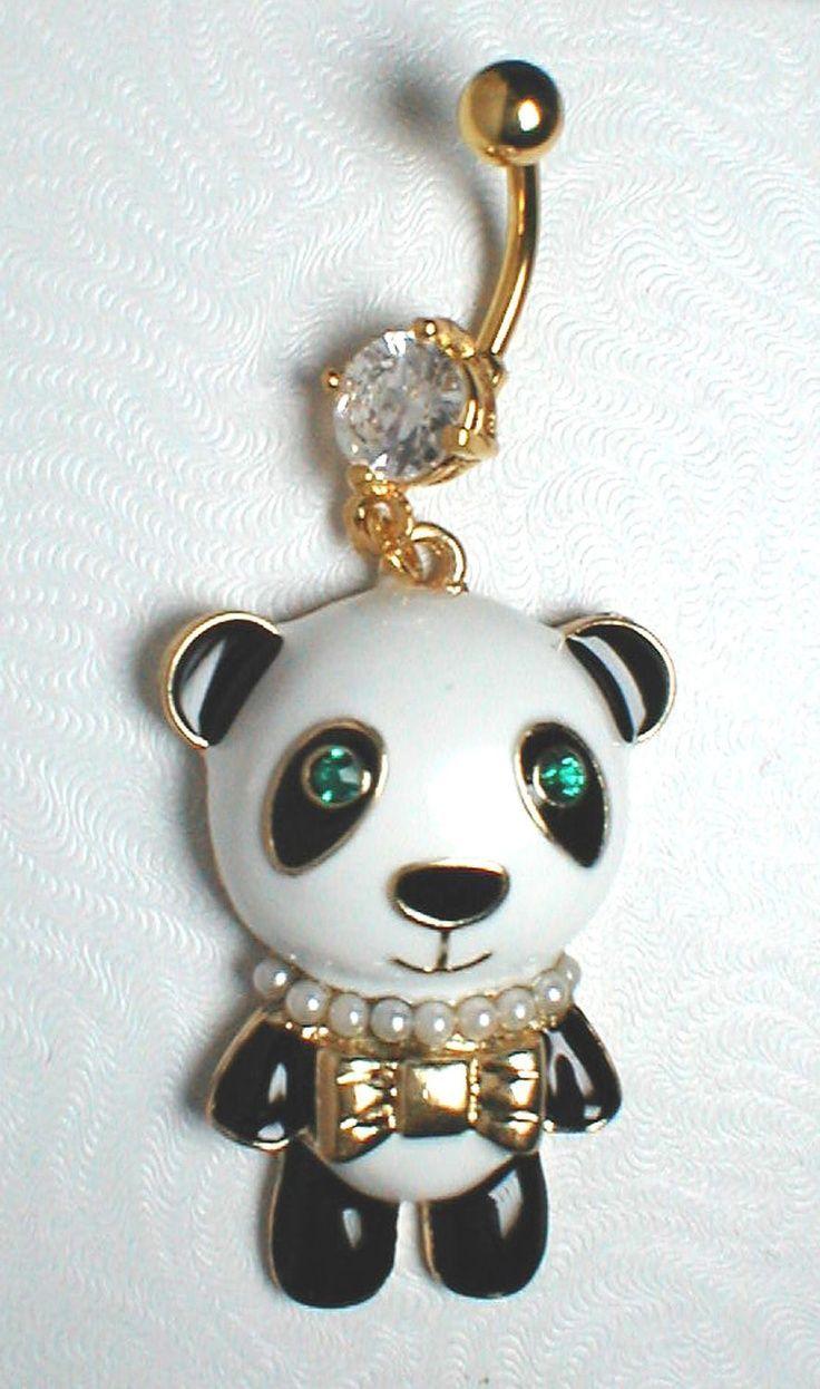 Super cute Panda belly ring :) d'awh