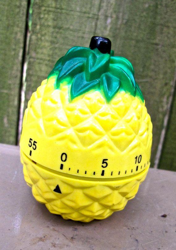 vintage pineapple kitchen timer by mkmack on Etsy, $9.00