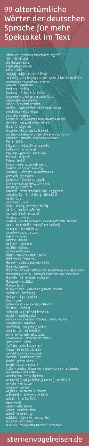 99 altertümliche und alte Wörter der deutschen S…