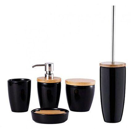 5-tlg. Bad-Set - KOBE - Keramik/Bambus - schwarz - Seifenablage - Toilettenbürste - Zahnputzbecher - Seifenspender - Aufbewahrungsdose - WC Bürste - Zahnbürstenhalter
