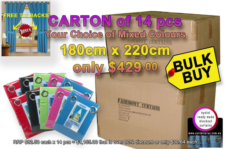 Shipment due today Bulk Deal - Fairm... what about the quality and price. What a saving  http://www.curtainsrus.com.au/products/bulk-deal-fairmont-curtains-your-choice-of-mixed-colours-180cm-x-220cm?utm_campaign=social_autopilot&utm_source=pin&utm_medium=pin
