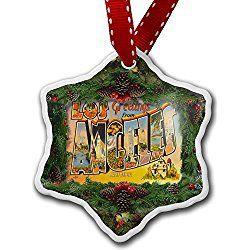 Los Angeles Christmas Ornament, Vintage - Porcelain Ornament, 3-Inch