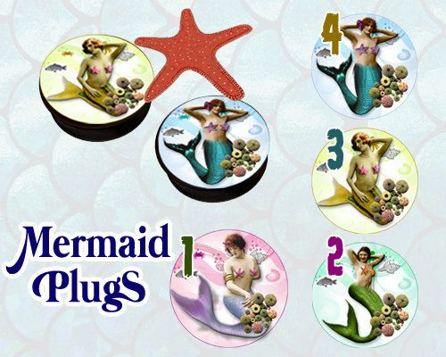 Vintage mermaids ear plugs acrylic individual by KustomwizarT