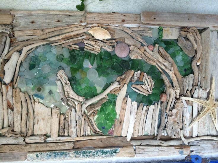 Driftwood sea glass seahorse
