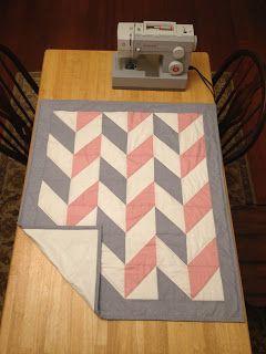 Head over Heels for Herringbone: Pink and Gray Herringbone Quilt