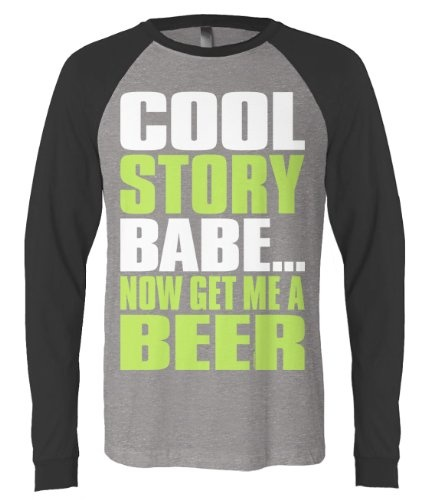 (Cybertela) Cool Story Babe... Now Get Me a Beer Mens Long Sleeve Baseball T-shirt Funny Catchphrase Tee (Deep Heather/Black, Small)