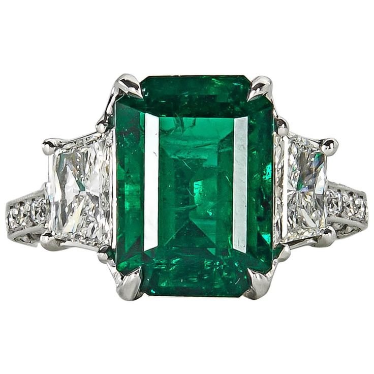 Very Fine GIA Emerald Diamond platinum Ring   From a unique collection of vintage cocktail rings at https://www.1stdibs.com/jewelry/rings/cocktail-rings/