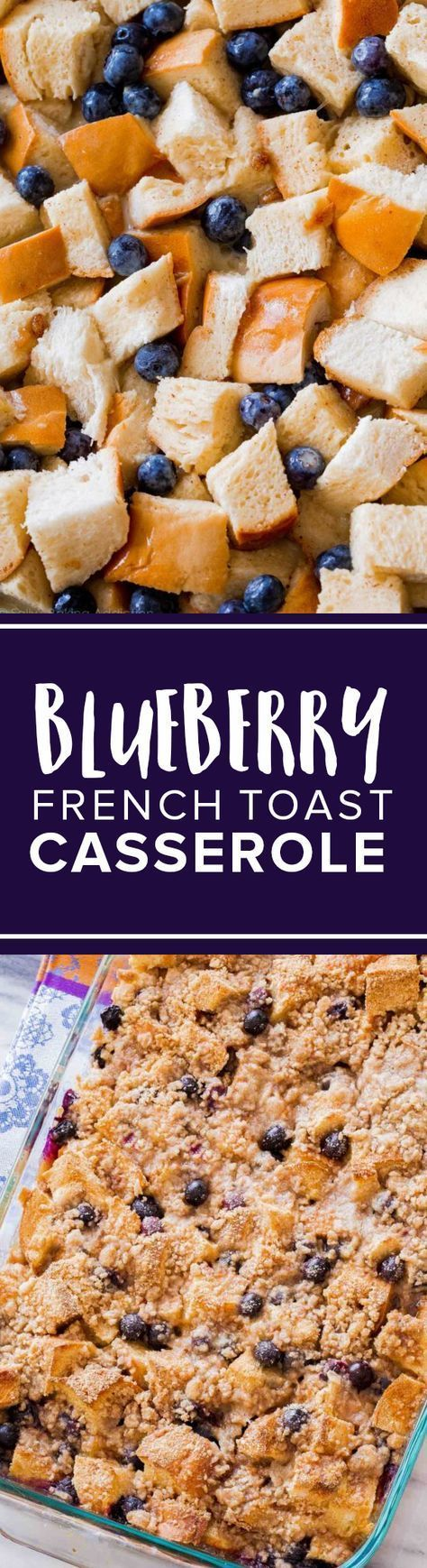 Make ahead overnight blueberry french toast casserole bake for breakfast or brunch in a hurry! Delicious easy brunch recipe on http://sallysbakingaddiction.com/2015/03/25/unbelievable-blueberry-french-toast-casserole/