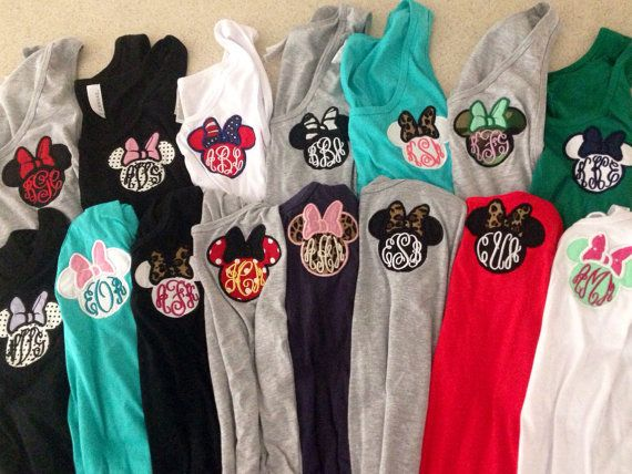 Hey, I found this really awesome Etsy listing at https://www.etsy.com/listing/189622499/womens-monogram-disney-applique-minnie   One day when I can actually go I will have one for every day