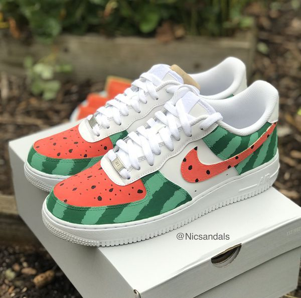 Nike Airforce 1s Custom Painted Watermelon Shoes For Sale In Chicago Il Offerup Watermelon Shoes Custom Nike Shoes Nike Shoes Air Force