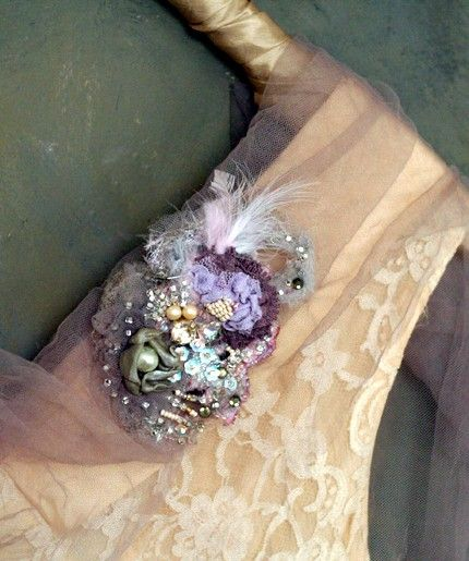 Ethereal Glamour-wearable art mixed media brooch by bonheur