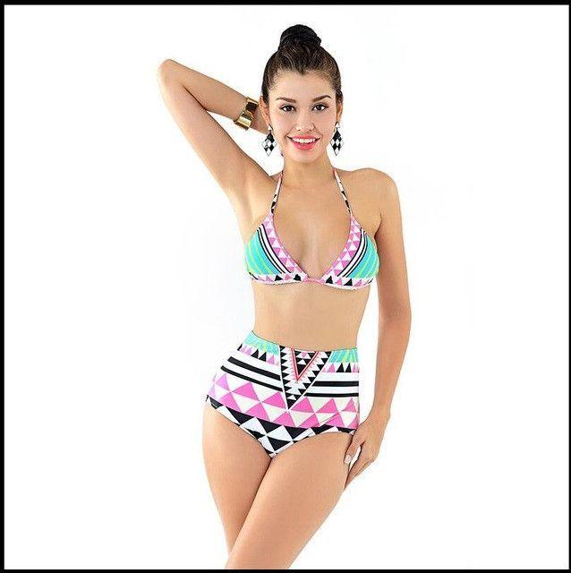 Sexy Aztec High neck cropped top swimsuit junior Bikini Retro Print Biquini Bodycon Padded Halter Swimming Suit