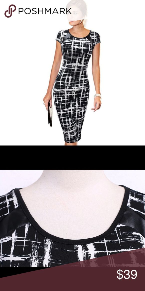 New black and white bodycon dress S,M,L,XL,XXL New in packaging beautiful black and white bodycon dress. Mid calf dress. Perfect for business or a night out. All sizes available. Dresses