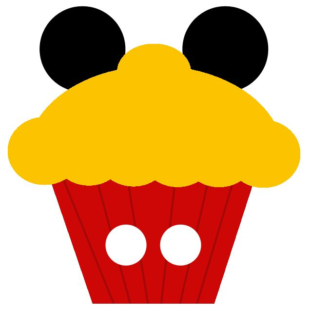 """Mickey cupcake - Disney-inspired Scrapbooking Element ~~~~~~~~~ Size: about 2x2"""" @ 300 dpi. This element is **Personal use only - NOT for sale/resale** Logos/clipart belong to Disney. Cupcake template from www.clker.com ***"""