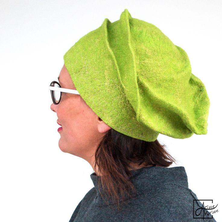 Lemon green felt hat with golden embroidery