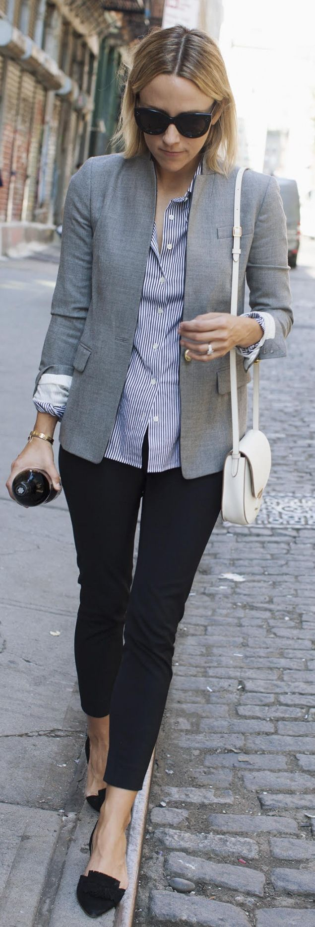 Gray Blazer On Blue Stripes Fall Inspo by Damsel In Dior