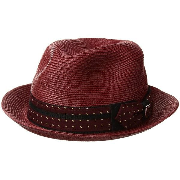 Stacy Adams Poly Braid Pinch Front Fedora with Fancy Bow (Wine) Caps ($32) ❤ liked on Polyvore featuring men's fashion, men's accessories, men's hats, mens fedora hats, mens wide brim fedora hats, mens caps and hats and men's brimmed hats