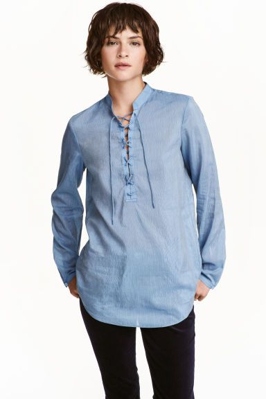 Blouse in a silk blend - Blue/Narrow striped - Ladies | H&M GB