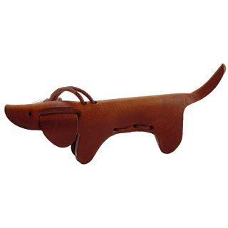 Dog Key Chain: dachshund dog Italian leather keychain