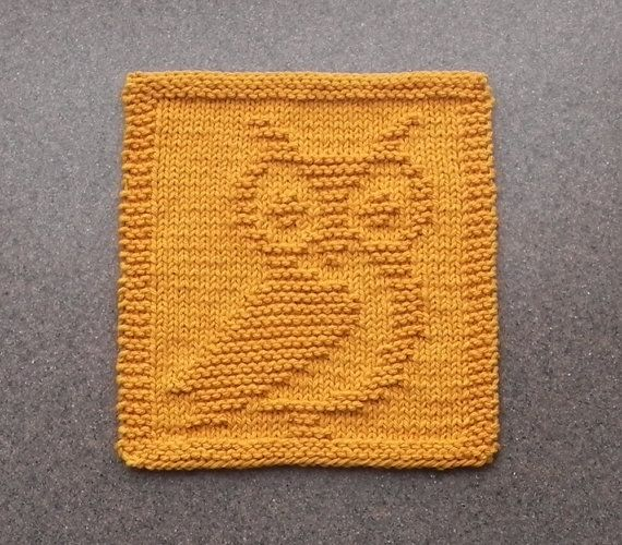 Knit Dishcloth OWL  Hand Knitted Unique Design by AuntSusansCloset, $6.50
