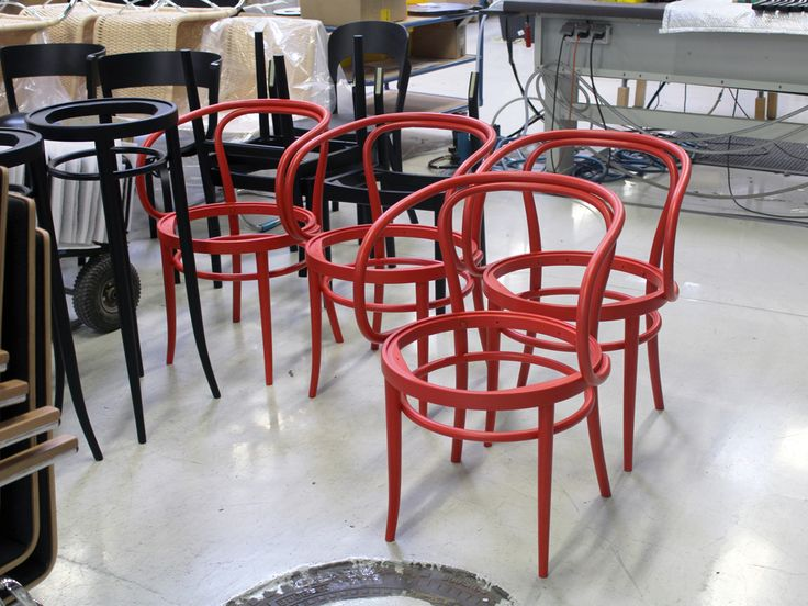 #SpottedInProduction: The favourite chair of architects - 209  Our classic #bentwood chair in a handsome implementation in coral red.