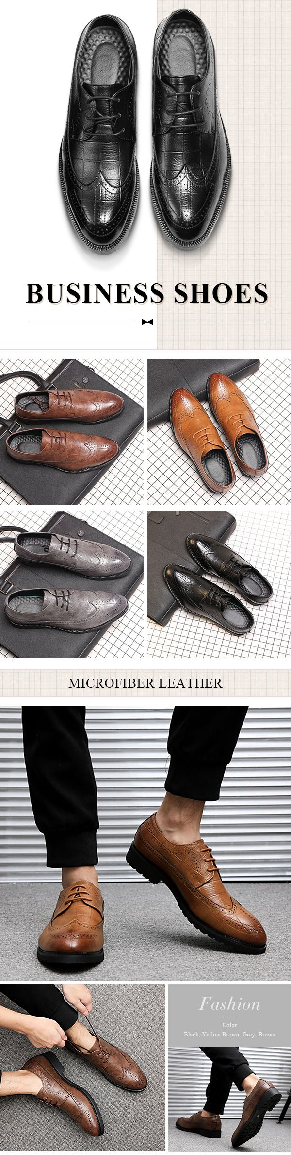 US$35.98 Men Large Size Microfiber Leather Pointed Toe Brogue Business Casual Shoes
