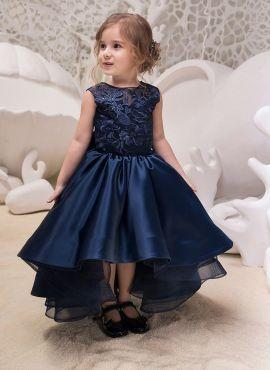 Navy Bue Satin Silk Kids Designer Frock 718270 Flower Girl Dresses Navy Flower Girl Dresses Blue Navy Blue Flower Girl Dresses