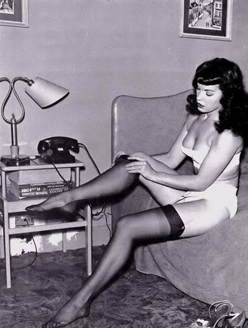 One of my all-time favorite pin up girls, Bettie Page #NationalStockingsDay