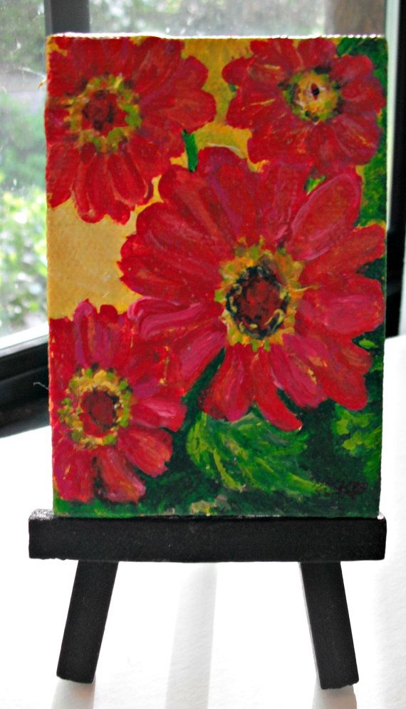 Zinnias Original  mini painting on Canvas with by SharonFosterArt, $20.00